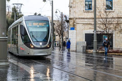 Tram on the streets of Jerusalem, Israel Stock Photos