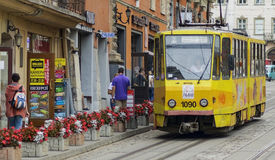 Tram on the streets. Stock Images