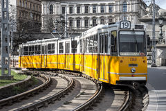 Tram in the streets. Traditional tram in the streets of Budapest stock images