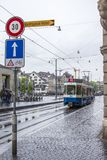 Tram on the streets of Zurich. stock images