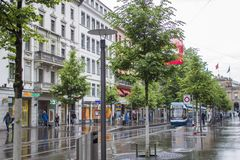 Tram on the streets of Zurich. Street photo stock photography