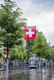 Tram on the streets of Zurich. Street photo royalty free stock photography