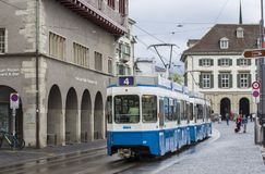 Tram on the streets of Zurich. Street photo royalty free stock image