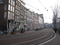 A tram strip on a street in Amsterdam royalty free stock image