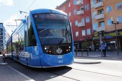 Tram in Sundbyberg. Sundbyberg, Sweden August 23, 2016: Tram class A35 in service on line 22 for SL in Sundbyberg city center at street landsvagen Stock Photo