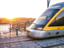 The tram on the sunset Stock Photography