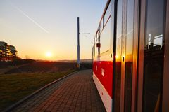 Tram at the sunset Royalty Free Stock Photos