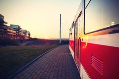 Tram at the sunset Royalty Free Stock Photo