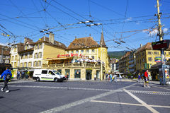 Tram system infrastructure at crossroad Stock Photography
