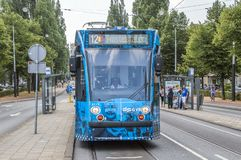 New Schedule Theme Tram At Amsterdam The Netherlands stock photography