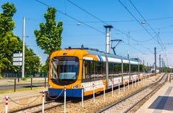 Tram at Theresienkrankenhaus station in Mannheim Stock Photography