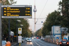 Tram to Alexanderplatz Fernsehturm. View on street evening  city Royalty Free Stock Images
