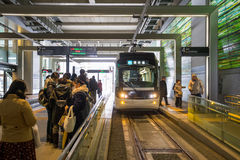 Tram in the Toyama station in Japan. TOYAMA JAPAN - FEB 13, 2017: & x22;Centram& x22; tram in the Toyama station. This Tram-train operated by Toyama Chiho Royalty Free Stock Photos