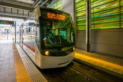 Tram in the Toyama station in Japan Royalty Free Stock Photos