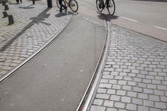 Free Tram Track And Bikes; Den Haag; The Hague Stock Images - 87879684