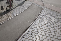 Tram Track and Bike; Den Haag; the Hague; Holland Royalty Free Stock Photography