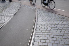 Tram Track and Bikes; Den Haag; the Hague; Holland Stock Photo