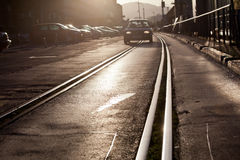 Tram track in city Royalty Free Stock Image