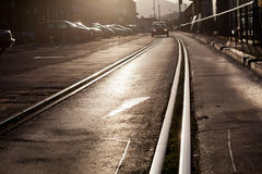 Tram track in city Stock Photos