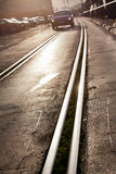 Tram track in city Royalty Free Stock Photo