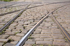 Tram Track on Cobbled Stones, Riga Stock Photos