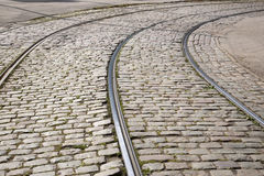 Tram Track on Cobbled Stones, Riga Stock Image