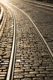 Tram Track Curve. In dusk sunlight Royalty Free Stock Photos