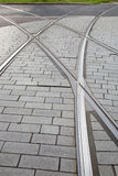 Tram Track and Cyclist in Rotterdam Stock Photos