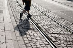 Tram Track in Geneva, Switzerland Stock Photography
