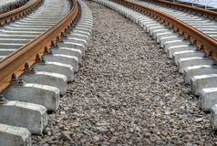 Tram track going left Stock Image