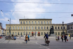Tram track with Munich Residenz building background in Munich, G Royalty Free Stock Images