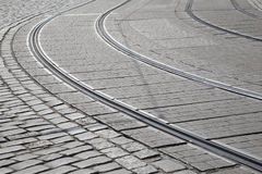 Tram Track, Prague; Czech Republic Stock Photo