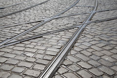 Tram Track, Prague; Czech Republic Royalty Free Stock Images