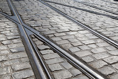 Tram Track, Prague; Czech Republic Royalty Free Stock Photography