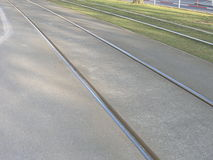 Tram track with rail and grass Stock Images