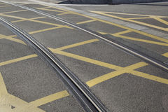 Tram Track on Street in Saragossa Stock Photography