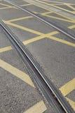 Tram Track on Street in Saragossa Royalty Free Stock Image