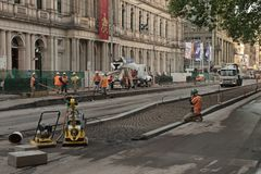 Tram track works Stock Photography