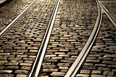 Tram Tracks. In dusk sunlight Royalty Free Stock Photo