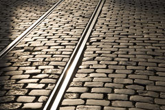 Tram Tracks. In evening sunlight in Ghent, Belgium, Europe Royalty Free Stock Photography