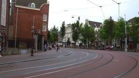 Tram tracks in Amsterdam  City of Amsterdam. Tram tracks in Amsterdam  Amsterdam Netherlands videoclip stock video footage