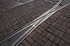 Tram Tracks in Amsterdam. Tram tracks in the middle of Amsterdam city Stock Photo