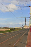 Tram tracks, Blackpool seafront Royalty Free Stock Image