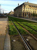 Tram tracks in Bordeaux Royalty Free Stock Photo