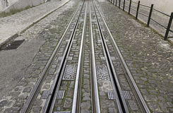 Tram tracks in the city Royalty Free Stock Photo