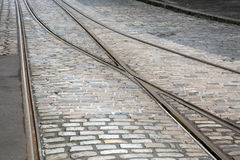 Tram Tracks on Cobble Stone Stock Photography