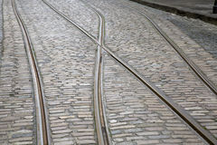 Tram Tracks on Cobble Stone Royalty Free Stock Photo