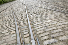 Tram Tracks on Cobble Stone Royalty Free Stock Photography