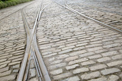 Tram Tracks on Cobble Stone Royalty Free Stock Photos