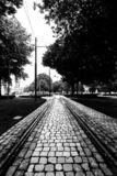 Tram tracks on a cobblestone street in Porto, Portugal. Black and white image royalty free stock photography